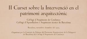 II Curset sobre la Intervenció en el patrimoni arquitectònic