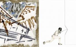 Pintura abstracta, al costat un home fent esgrima