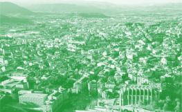 vista de dron de ciutat amb filtre verd