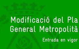 Modificació del Plà General Metropolità.
