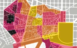 Mapa de Ciutat Vella amb arees colorejades.