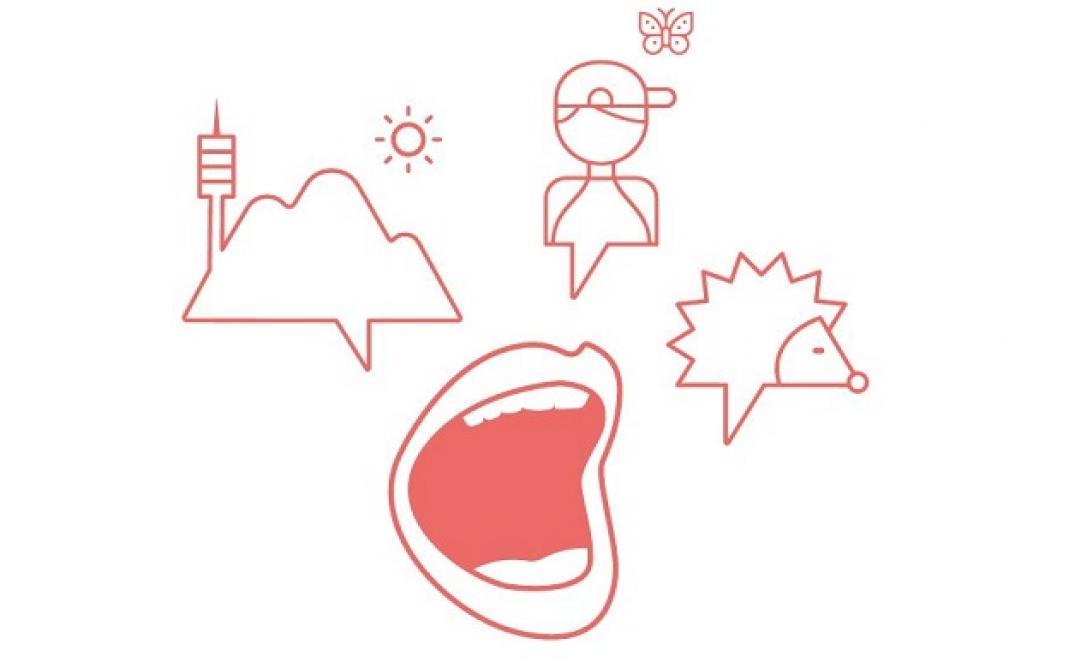 Dibuixos d'una boca, un eriçó, un noi i una muntanya.