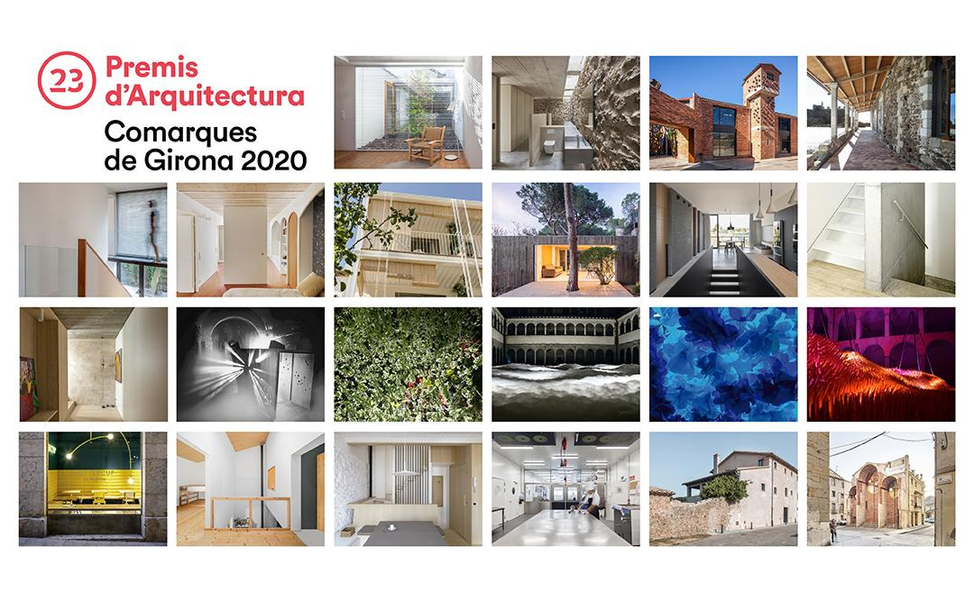 Mosaic amb les 22 obres seleccionades dels Premis d'Arquitectura de les Comarques de Girona 2020