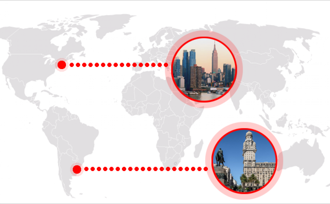 Mapamundi amb les ciutats de Nova York i São Paulo marcades.