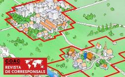 pintura isometrica de dos pobles amb limits en vermell.