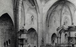 Dibuix de la perspectiva interior de St. Pere. Josep Maria Seggarra, Amadeu Llopart i Enric Móra. Arxiu de l'església de Sant Pere. Arxiu Comarcal de l'Alt Empordà