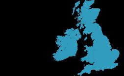 mapa de gran bretanya en blau.