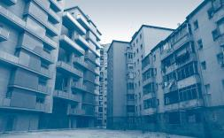 edificis amb filtre blau